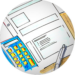 Illustration zum Thema Steuern – Bilanz, Taschenrechner, Stift